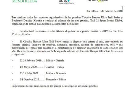 Comunicado de Prensa – Calendario 2019 Basque Ultra Trail y Bocineros-Deiadar Xtreme