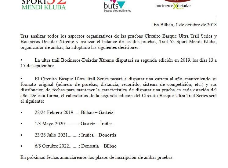 Calendario Ultratrail.Comunicado De Prensa Calendario 2019 Basque Ultra Trail Y