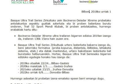 Prentsa oharra: Basque Ultra Trail eta Bocineros-Deiadar Xtreme 2019 egutegia