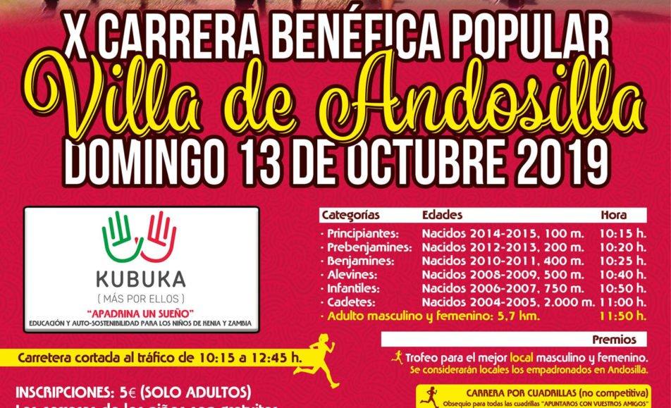 X. CARRERA BENÉFICA POPULAR VILLA DE ANDOSILLA – 2019