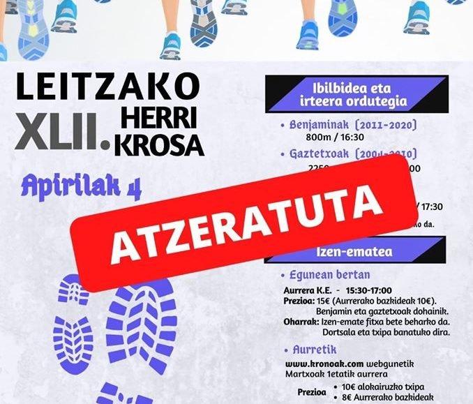 ⛔ [ATZERATUTA / APLAZADA] XLII. LEITZAKO HERRI KROSA – 2020
